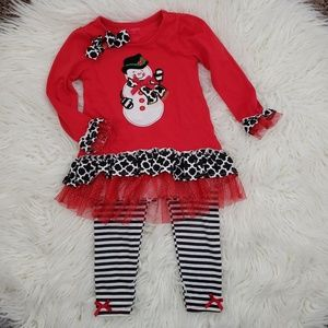 Nanette Kids Girls Snowman Top and Leggings Set